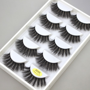 5 paires Vison Cils 3D Faux-Cils ailées épais MakeupEyeLash Lashes dramatique volume naturel doux Faux cils G800