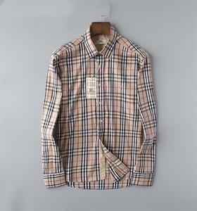 Marka Erkek İş Casual gömlek erkek uzun ince uygun camisa masculina sosyal erkek gömlek yeni moda tasarımcısı Ekose gömlek 037 çizgili Kol