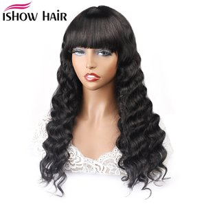 IShow Brésilien Remy cheveux humains Bang Perruques Pre plumé Natural Black Wave Straight pleine machine Made Lace Front Wigs vague de corps 150%
