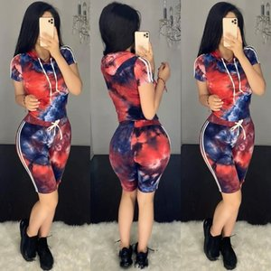 e6cL8 H652 tie-dyed printed fashionable hooded casual slim H652 tie-dyed printed hooded fashion sui leisure for fit sports suit Suit women