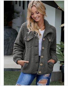 Women's Jackets BONJEAN 2021 Winter Coats And Outerwear Single Breasted Fleece Jacket For Women Turn-Down Collar Gray BJ1592
