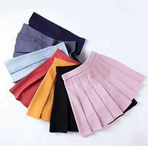 Solid color new women's college wind elastic waist skirt
