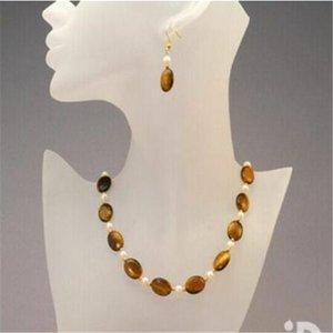 13X18mm naturel jaune oeil de tigre + collier de perles ensemble de boucles d'oreilles 18''