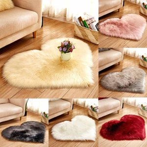 Fluffy Heart-shaped Rug Carpets for Living Room Decor Faux Fur Rugs Room Long Plush Rugs for Bedroom Shaggy Area Mats