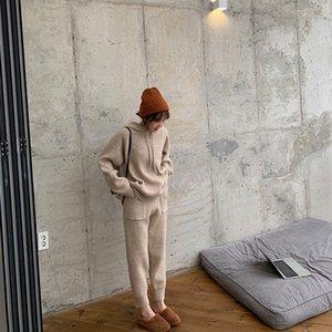 81acM Kızgın tui kızarmış tavuk Turp pantolon kazak giyim kolay gevşek kapüşonlu kazak kadın kırpılmış şalgam pantolon örme iki parça giyim