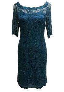 ANNE F Charming Elegant Trendy Lace Beaded 3 4 Sleeves Green in colour Evening Party Cocktail Short Dress