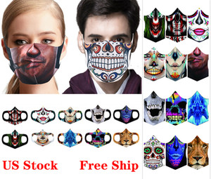 Halloween Face Mask Ice Silk 3D Printing Skull Scary Mask Reusable Washable Anti Dust Mouth Masks for Party Masquerad Masks FY9180