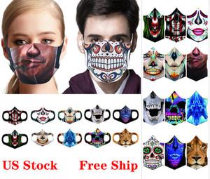 Maschere Maschera di Halloween ghiaccio seta stampa 3D Skull Spaventoso Maschera riutilizzabile lavabile antipolvere bocca per Party masquerad Maschere FY9180