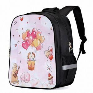 Valentine Balloon Cake Cat Music Love Laptop Backpacks School Bag Child Book Bag Sports Bags Bottle Side Pockets 83N9#