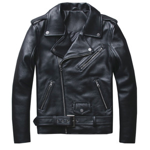 Classical Motorcycle Jackets Men Leather Jacket 100% Natural Calf Skin Thick Moto Jacket Winter Sleeve 61-67cm