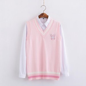 Pink Small rabbit Embroidery pattern Sweater vest high school Japanese style knitting pullover Drop Shipping Good Quality