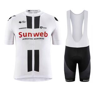 Задействуя Джерси Set 2020 Pro Team Sunweb Велоспорт одежда Мужчины / женщины лета дышащий MTB велосипед Джерси нагрудник шорты комплект