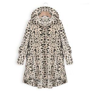 Vestidoes Плюс Размер одежда женщин Новой Leopard мода куртка вскользь Сыпучего капюшон однобортного пальто Женского