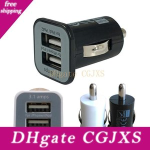 500PCS / لوط 5V 3 .1a USAMS المزدوج منفذ USB شاحن سيارة 5V 3100mah حصول على الهاتف المحمول