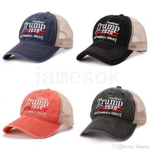 US STOCK Donald Trump 2020 Baseball Cap Patchwork washed outdoor Make America Great Again hat Republican President Mesh sports cap