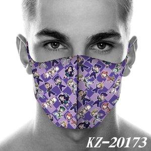 2020 diseño JoJos fantástica aventura periférica impresión mascarillas faciales de la máscara a prueba de polvo historieta de la manera Máscara Cosplay mascarillas reutilizables