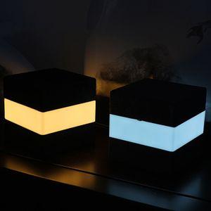 La noche del tacto de control de luz LED de tabla del escritorio de la lámpara de cabecera del USB batería recargable luces cuadradas luz nocturna para sala de estar Dormitorio Decoración
