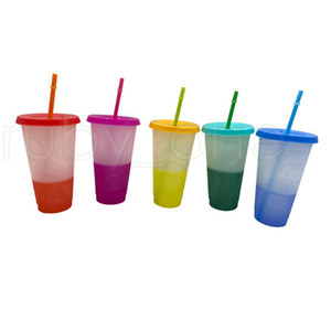 700ml Color Changing Cups 24oz Cold Cups Color Changing Tumbler With Straw Ecofriendly Coffee Tumbler Travel Cold Cups RRA3645