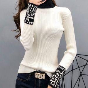 Tight Основные свитер Женщины Тонкие длинные рукава Женщины Свитера и пуловеры водолазку Тонкий Свитера женские Вязаная мода