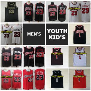 Vintage Erkek Gençlik Çocuklar 1 Derrick Rose 23 Michael JD Basketbol Jersey Otantik Dikişli Derrick Rose Gençlik ŞikagoBullsJersey