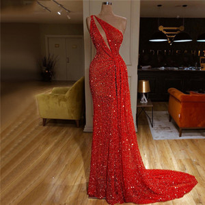 Real Image Red Sequins Evening Dresses 2020 Long Mermaid Beading One Shoulder Sexy Prom Gown abendkleider Formal Dress vestido
