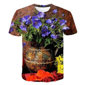 Neck Short Sleeve Plus Size Tee Designer Male Loose Casual Style Tops Tshirts Man Flower Sea T-shirts Summer Fashion 3D Print Crew