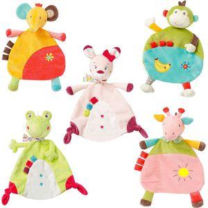 Recém-nascido de banda desenhada toalha macia veados frog gato macaco elefante bebê conforto toalha pacificar brinquedos de pelúcia chocalho brinquedo conforto animais cobertor