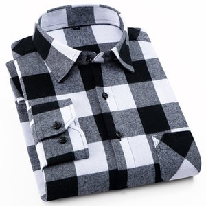 100% хлопок фланель Мужская клетчатую рубашку Slim Fit Мужской повседневные рубашки с длинными рукавами Soft Удобная дышащая Высокое качество 4XL 200925