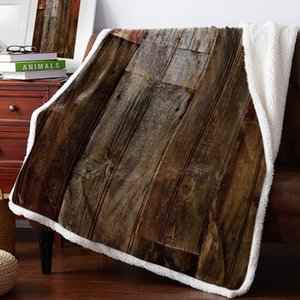 Winter Cashmere Sherpa Blanket Retro Wooden Board Brown Bedspread Coverlet Flannel Travel Fleece Cover Wrap Personalized