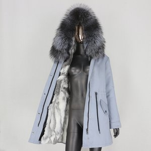 BLUENESSFAIR 2020 Longa Waterproof Parka Natural Raccoon Fur Collar Brasão real Fur forro revestimento do inverno Mulheres destacável