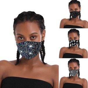 Vendita calda Flash diamante nero strass mascherina di modo nightclub partito personalizzato poliestere Spandex personalizzati Spot trapano vetro
