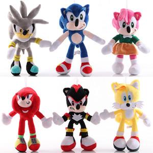 brinquedos de Natal 25cm de Sonic Plush Toys Sonic the Hedgehog Bichos de pelúcia Dolls Hedgehog Sonic & Knuckles the Echidna Bichos de pelúcia caçoa o presente