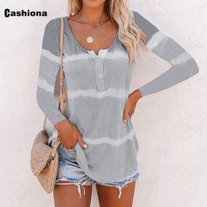 Cashiona Kadınlar Şık Boş Günlük tişört Tie Kuru Çizgili Baskı V-ne Gevşek Kadın Üst Giyim 2020 Yaz Yeni Tees gömlek Femme