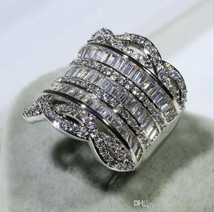 Luxury Jewelry Unique 925 Sterling Silver Full Stack 5A Cubic Zirconia CZ Diamond Wide Rings Party Women Wedding Band Finger Band Ring Gift