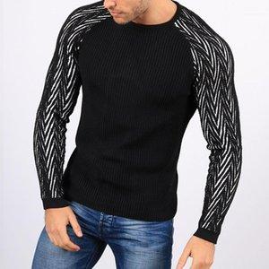 Sleeve Tops casuali dimagriscono Abbigliamento Uomo Autunno Mens Panelled lavorato a maglia Maglioni Moda girocollo lungo