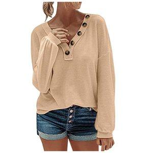 Waffle Uzun Kollu Katı Baskı Gömlek Casual Bluz Gömlek V yaka Düğme Kazak Sonbahar Kış Lady blusas