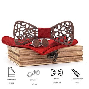 Manual Wooden Bow Tie Handkerchief Set Men's Bowtie Wood Hollow Carved And Box Bow Tie Bowtie Ties For Men Gravata Cravate Homme