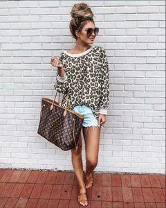 Hoodies Sexy Leopard-lange Hülse O Ansatz Frauen Sweatshirts lösen bunte Frauen Tops Mode-Herbst-Dame