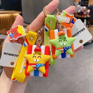 1PCS Cartoon Smile Pentagram French fries Key Chain 3D Double Side Key Ring Cute PVC Anime Keychain Holder Trinket Gift