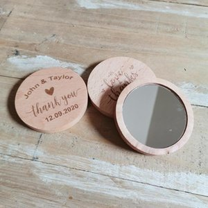 Personalized Natural Wooden Mirror Wedding favor gifts Baby shower gifts Birthday Party Favor for guest