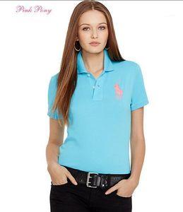 Tees traspirante Slim Moda Sport T-shirt estate delle donne Classic Solid Polo ricamo risvolto manica corta