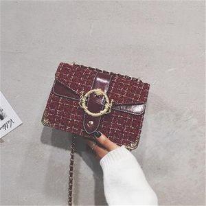 cc Kadın net 2020 sonbahar / kış yeni trend Ins moda tek omuz çapraz vücut çanta batı tarzı zincirini kırmızı