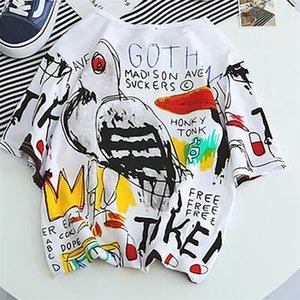 Summer Graffiti Men Tshirt Funny Cotton Printed Harajuku Mens Loose T Shirts Hip Hop Kpop Punk T-Shirt Streetwear Tees G6G81 0924