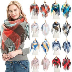 2020 Women Cashmerelike Winter Scarf Knit Bandana Plaid Female Warm Triangle Scarves Blanket Shawls and Wraps Bufanda