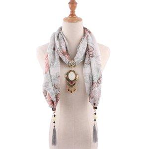 RUNMEIFA Declaração Jóias Colar gota de água Pendant Scarf Mulheres Bohemia Lenço do Pescoço Foulard Femme Lojas de Acessórios Hijab