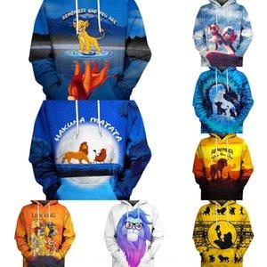 Пара мужской свитер 3D Digital Lion King Симба печататься Lion King рыхлый пара износа с капюшоном свитер