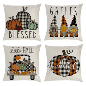 Fall Pillow Covers 45*45cm Fall Thanksgiving Plaid Gnomes Pumpkin Outdoor Decorative Throw Pillow Case Autumn Cushion Halloween HH9-3333