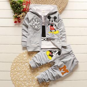 مل 3pcs / مجموعة اطفال بنين بنات مجموعة ملابس ملابس الطفل للأطفال عادية معطف الكرتون ماوس مقنع + قميص + سروال 1 2 3 4 سنوات LJ200814