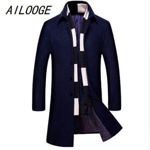 Casaco Wool Scarf Two Piece Casual Casaco Comprido Jacket Men Cotton Inverno Slim Fit Homens AILOOGE 2.020 homens Moda 's