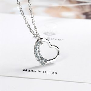 Cute Female White Crystal Pendant Necklace Charm Silver Color Chain Necklaces For Women Trendy Hollow Heart Wedding Necklace